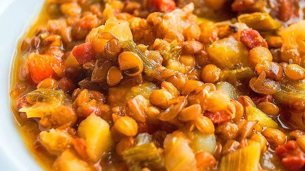 Receta de lentejas pardinas con curry