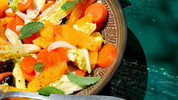 Receta de ensalada con espinacas y naranja